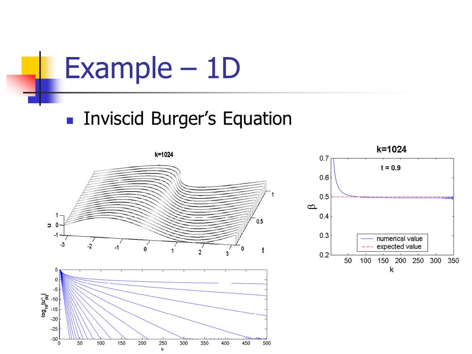 Example – 1D Inviscid Burger's Equation [REMOVE TOO LITTLE TIME ]